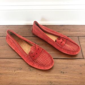 Coach Studded Red Loafers Size 10